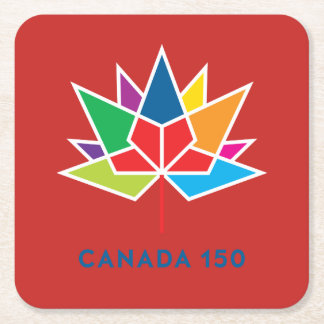 Canada 150 Official Logo - Multicolor and Red Square Paper Coaster