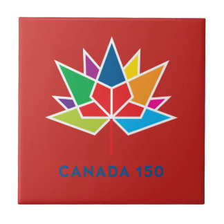 Canada 150 Official Logo - Multicolor and Red Tile