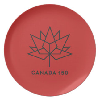 Canada 150 Official Logo - Red and Black Party Plates