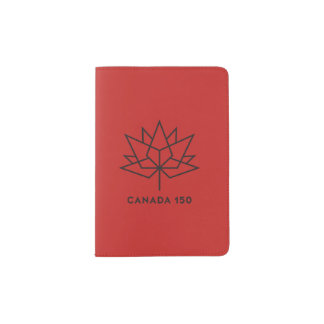 Canada 150 Official Logo - Red and Black Passport Holder
