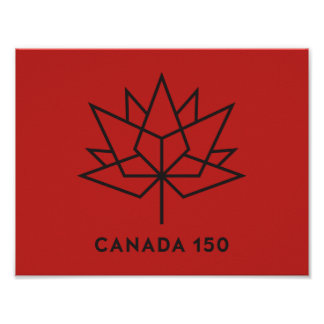 Canada 150 Official Logo - Red and Black Poster