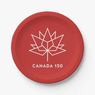 Canada 150 Official Logo - Red and White 7 Inch Paper Plate