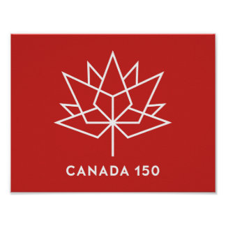 Canada 150 Official Logo - Red and White Poster