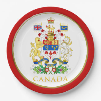Canada 150 Red White Coat of Arms Paper Plate