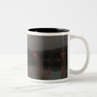 Canada, Alberta, Banff. Sunrise scenic of Two-Tone Coffee Mug