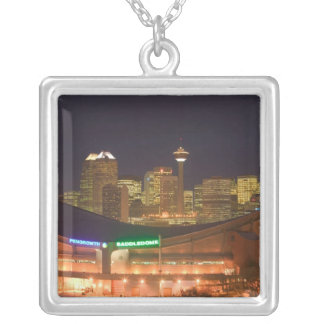 Canada, Alberta, Calgary: City Skyline from Silver Plated Necklace