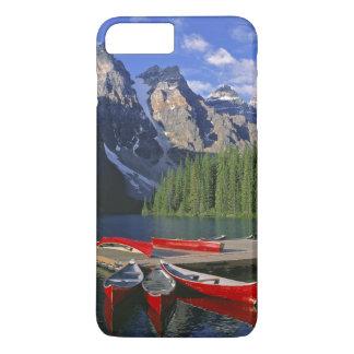 Canada, Alberta, Moraine Lake. Red canoes await iPhone 8 Plus/7 Plus Case