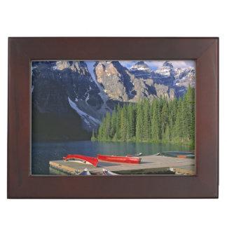 Canada, Alberta, Moraine Lake. Red canoes await Keepsake Box