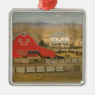 Canada, Alberta, Pincher Creek: Red Barn & Ranch Christmas Ornament