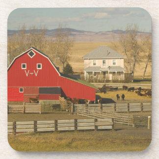 Canada, Alberta, Pincher Creek: Red Barn & Ranch Drink Coasters