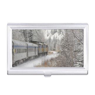 Canada, Alberta. VIA Rail Snow Train between Business Card Holder