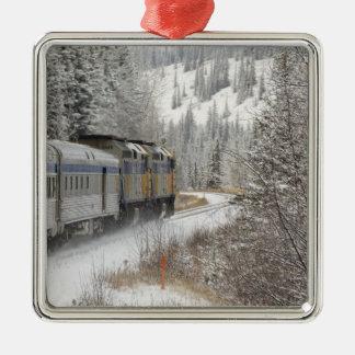 Canada, Alberta. VIA Rail Snow Train between Christmas Ornament