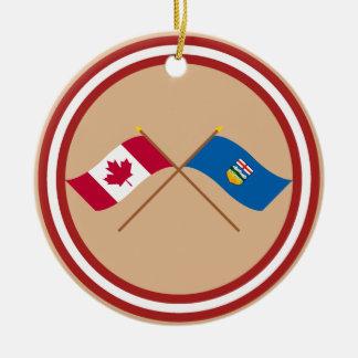 Canada and Alberta Crossed Flags Christmas Ornament