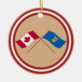 Canada and Alberta Crossed Flags Round Ceramic Decoration