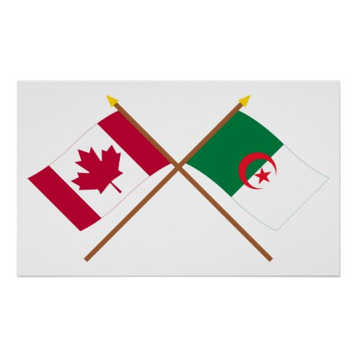 Canada and Algeria Crossed Flags Poster
