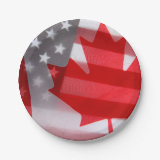 Canada and America flags Paper Plate