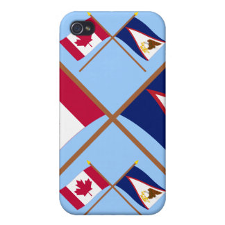 Canada and American Samoa Crossed Flags iPhone 4 Case