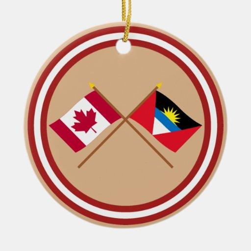 Canada and Antigua & Barbuda Crossed Flags Christmas Tree Ornaments