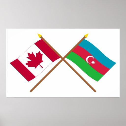 Canada and Azerbaijan Crossed Flags Print