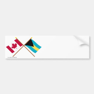 Canada and Bahamas Crossed Flags Bumper Sticker