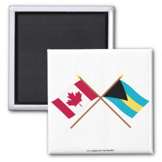 Canada and Bahamas Crossed Flags Magnet