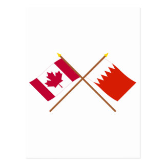 Canada and Bahrain Crossed Flags Postcard