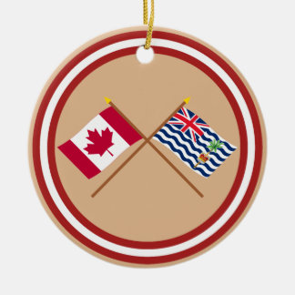 Canada and BIOT Crossed Flags Christmas Tree Ornaments