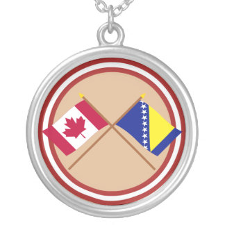 Canada and Bosnia & Herzegovina Crossed Flags Silver Plated Necklace