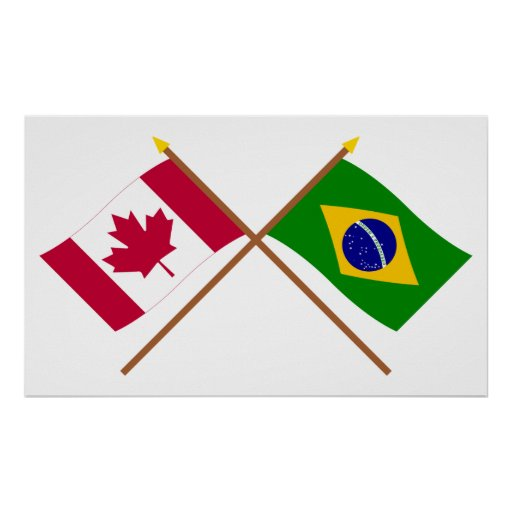 Canada and Brazil Crossed Flags Print