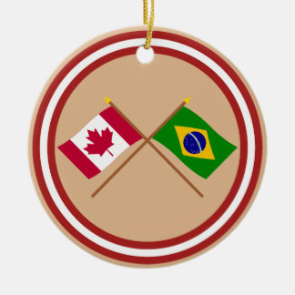 Canada and Brazil Crossed Flags Round Ceramic Decoration