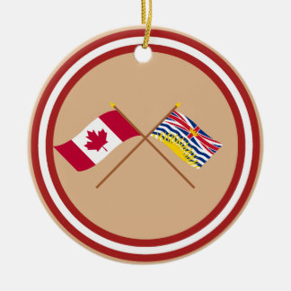 Canada and British Columbia Crossed Flags Ornament