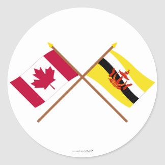 Canada and Brunei Crossed Flags Classic Round Sticker