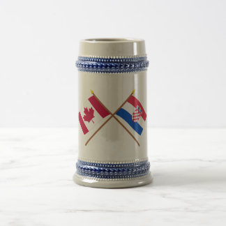 Canada and Croatia Crossed Flags Beer Stein