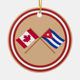 Canada and Cuba Crossed Flags Round Ceramic Decoration