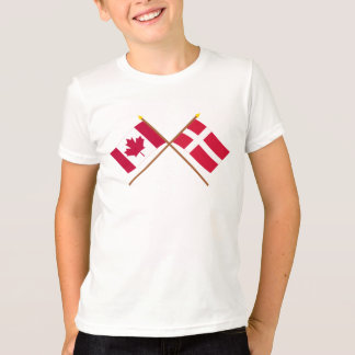 Canada and Denmark Crossed Flags T-Shirt
