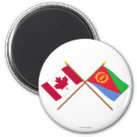 Canada and Eritrea Crossed Flags 6 Cm Round Magnet