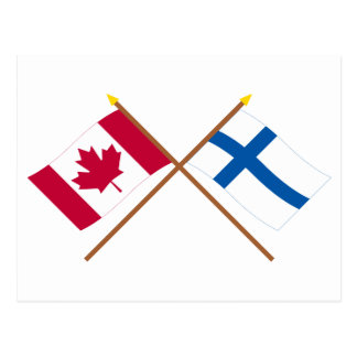 Canada and Finland Crossed Flags Postcard