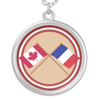 Canada and France Crossed Flags Silver Plated Necklace