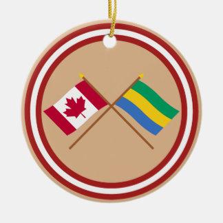 Canada and Gabon Crossed Flags Round Ceramic Decoration