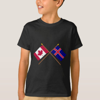 Canada and Iceland Crossed Flags T-Shirt