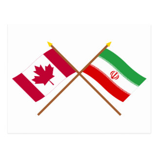 Canada and Iran Crossed Flags Postcards