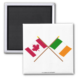 Canada and Ireland Crossed Flags Magnet