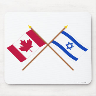 Canada and Israel Crossed Flags Mouse Mat