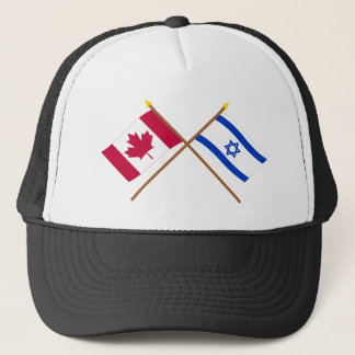 Canada and Israel Crossed Flags Trucker Hat