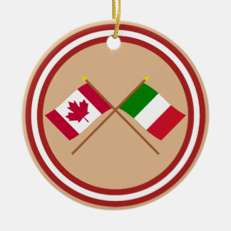 Canada and Italy Crossed Flags Christmas Ornament