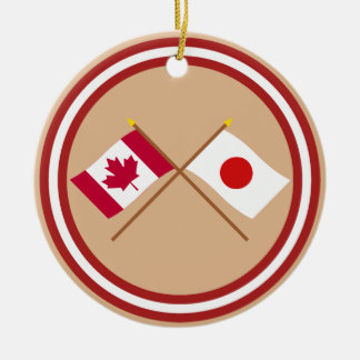 Canada and Japan Crossed Flags Round Ceramic Decoration
