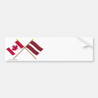 Canada and Latvia Crossed Flags Bumper Sticker