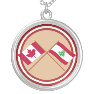 Canada and Lebanon Crossed Flags Silver Plated Necklace