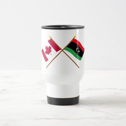 Canada and Libya Crossed Flags Coffee Mugs