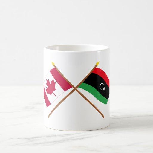 Canada and Libya Crossed Flags Mugs